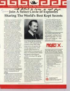 Gene Savoy Project X ad