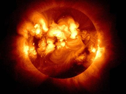 The was taken during the solar max of 2001. The solar max of 2012 is predicted to be more violent.