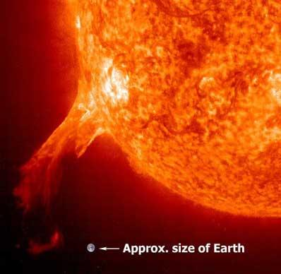 A coronal mass ejections can be thousands of miles long and travel at speeds up to two million miles per hour.